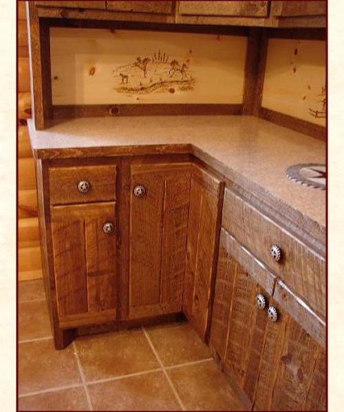 Rough Sawn Cabinetry Custom Designed Built Solid Wood