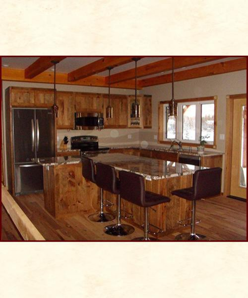 Rough-Sawn Cabinetry, Custom Designed & Built, Solid Wood