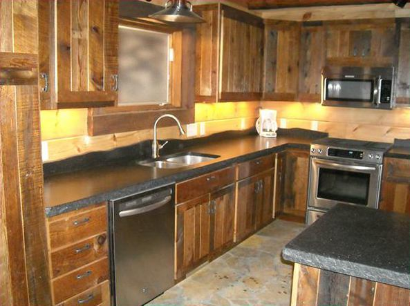 Custom Built Reclaimed Lumber Cabinets